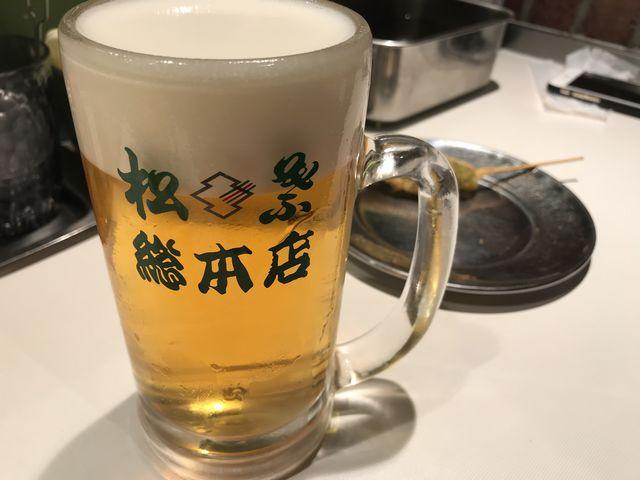 串カツ 松葉のビール